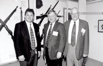 Remington VP of Marketing & Sales Art Wheaton is flanked by Simeon Stoddard (Curator of the Cody Firearms Museum - left) and by Jay Huber (RSA Director - right).