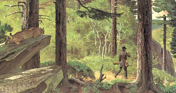 Painting of Eliphalet Remington walking to Utica to have his first gun barrel rifled in 1816