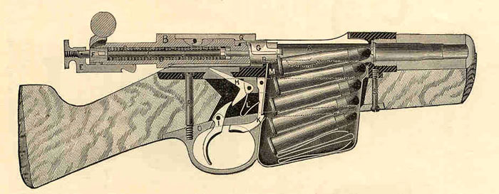 Cut-away illustration of a Rem-Lee Model 1885 Military Rifle.